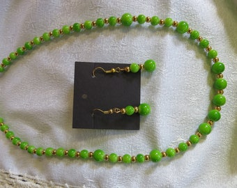 Green & Gold Necklace/Earring Set
