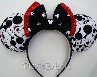 "Handmade Traditional ""Many Faces of Mickey"" Custom Mouse Ears inspired by Disney"