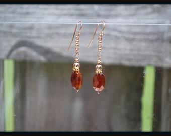 Hessonite Garnet Earrings, Hessonite and Rose Gold Earrings, Hessonite Earrings, Garnet Earrings, Hessonite Jewelry, Garnet Jewelry
