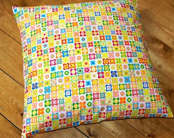 yellow pink green blue orange flowers squares cushion cover , retro decorative pillow cover 16 / 18 / 20 inch