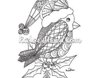 Instant Digital Download - Coloring Page - Christmas doodles - red robin inspired