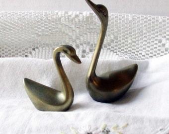 Vintage Brass Swan Pair