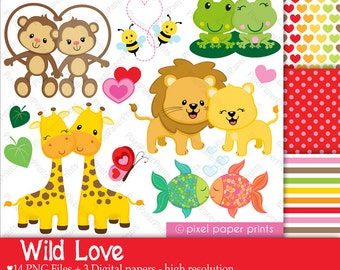 Wild Love - Valentine's day - Clip art and Digital paper set