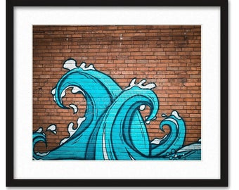 PRINTABLE Graffiti Street Art Mural Wall Art Print Photography Photo Digital **Instant Download** - Waves on Brick