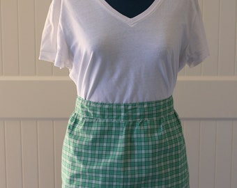 Retro half apron, vintage apron, gingham print, green and white, checked, handmade, accessories, cotton, green print apron