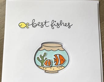 Gold fish bowl card with tropical fish