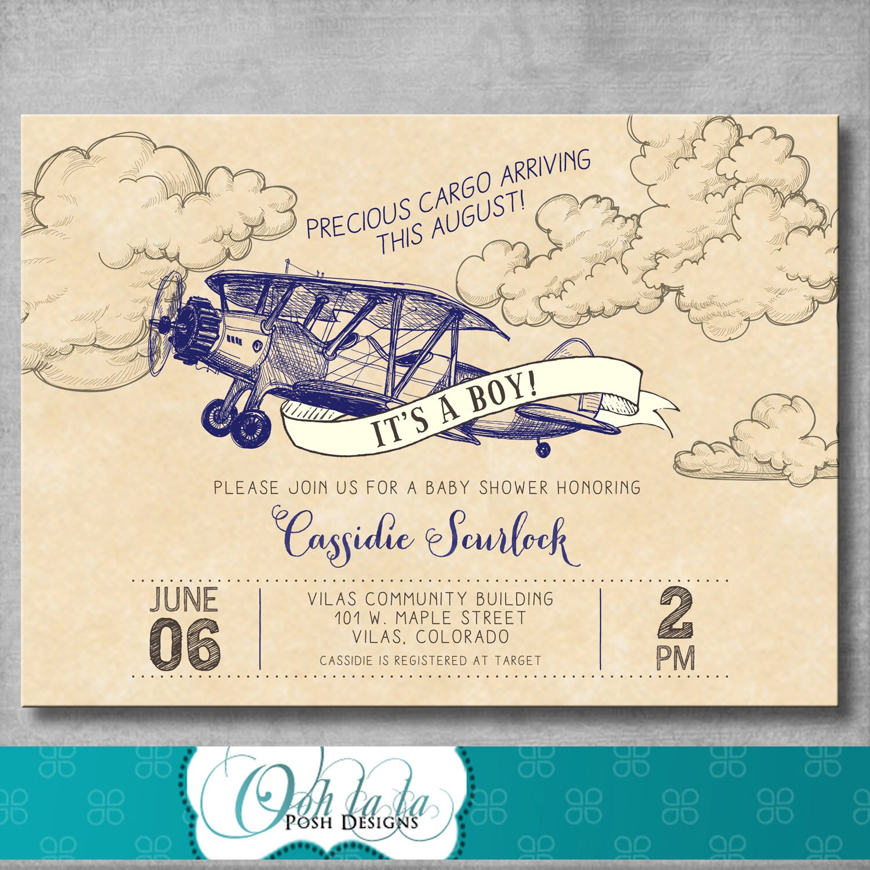 Vintage Airplane Baby Shower Invitation Precious Cargo