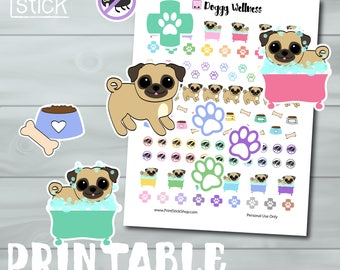 Pug Planner Stickers PRINTABLE Dog Stickers - Pet Health - Perfect for your Erin Condren Planner, Happy Planner etc