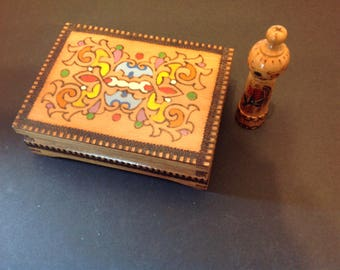 Hand Painted with Pyography Wooden Box With Hand Painted Wood Piece Folk Art Box
