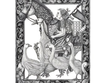 8x10 Giclee Print of The Goose Girl Fairytale from Brothers Grimm