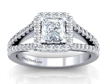 14k White Gold Princess Cut Split Shank Halo Engagement Ring - 1.57ctw Princess Cut Forever Brilliant Moissanite and Diamonds