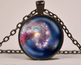 Nebula Bright Pendant Necklace or Keyring Glass Art Print Jewelry Space Charm Gifts for Her or Him Outer Space Astronomy Sun S5