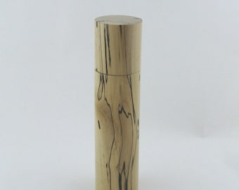 Spices and peppermill grinder in spalted Maple , Cylinder  style  9,5 in. X 2,375 Diam. item no: 963