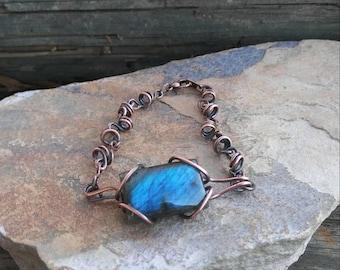 Blue Labradorite Copper Bracelet - Gift For Her