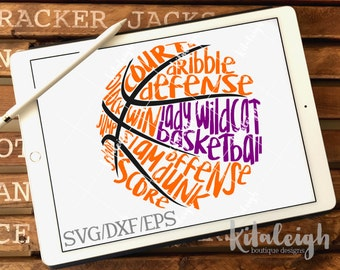 Messy Lady Wildcats Basketball INSTANT DOWNLOAD in dxf, svg, eps for use with programs such as Silhouette Studio and Cricut Design Space