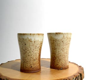 Pair of Speckled Ceramic Drinking Cups / Handless Mugs - Tumblers / Vintage Pottery / Set of 2