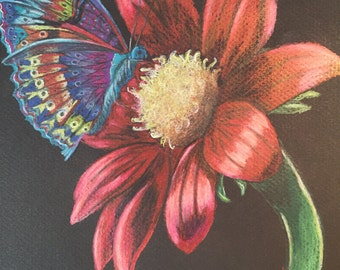 Blue Butterfly with Red Flower