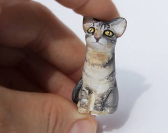 Portrait miniature cat lover gift figurine of polymer clay cute animal Painted manually  customized figurines Made to order