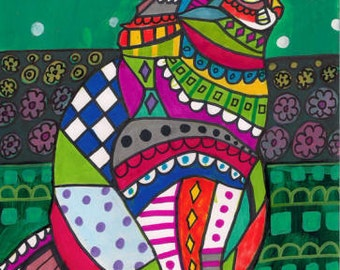 50% SALE- CAT Folk art prints Poster of Painting Modern Abstract (Hg273)