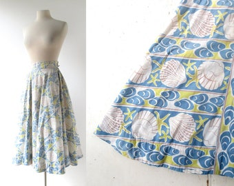 1950s Circle Skirt | At the Shore | Novelty Print Skirt | 50s Skirt | 23-24W XXS