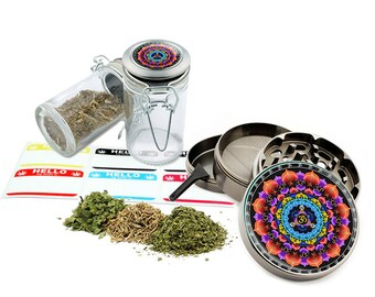 "Om - 2.5"" Zinc Alloy Grinder & 75ml Locking Top Glass Jar Combo Gift Set Item # G123114-0019"