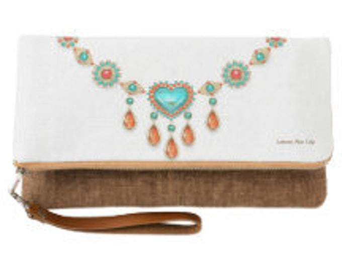 Turquoise Necklace Fold Over Clutch