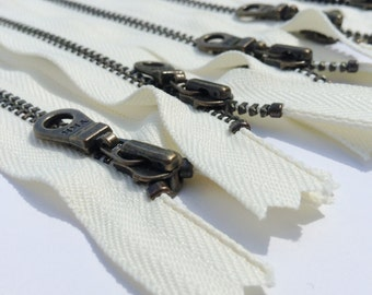 YKK Metal Teeth Zippers-Off White Antique Brass Donut Pull-Color 571 Cream- Available in 9,10,11 or 14 Inches - 5 Pieces
