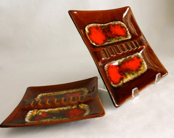 vibrant vintage drip glaze ashtrays