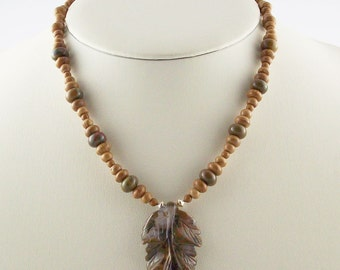 Organic Natural Genuine Rhyolite Carved Leaf Beaded Necklace