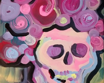 """Frida skull and roses abstract Valentine original acrylic painting on 11"""" x 14"""" canvas"""