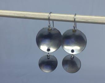Double Disc Sterling Silver Earrings