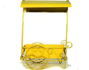 1960s Metal Miniature Flower Cart Planter