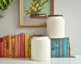 Mid-Century Extra Large Hyalyn USA Ceramic Canisters