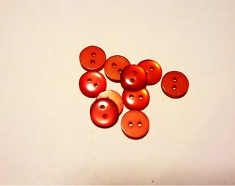 Batch of 10 red shirt buttons