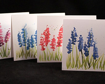 Set of Original Watercolor PRINT- Lupine Note Cards/Greeting Cards (Set of Four), Flower Cards, Watercolor Cards