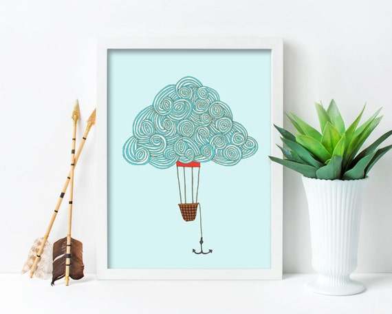 "framed wall art, framed art prints, large framed art, large framed wall art, cloud art, wall art prints, colorful - ""Cloud Balloon No. 1"""