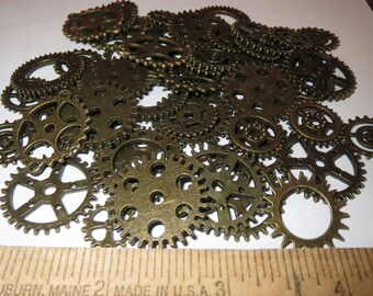 40g GEARS ONLY 1/2-1 Inch Medium to Large NeW CLoCK Watch Style STEAMPUNK Wheels Cogs Parts Pieces