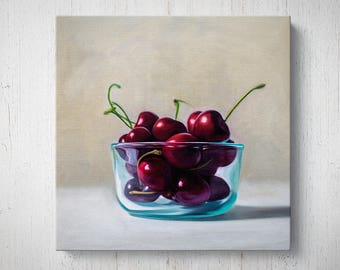 Bowl of Cherries - Fruit Oil Painting Giclee Gallery Mounted Canvas Wall Art Print