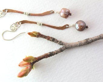 Champagne Freshwater Pearl earrings with Sterling silver and Copper branches.