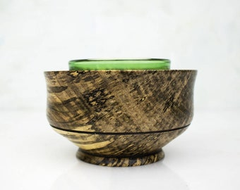 Wooden Candle Holder, JOY, Handturned from Spalted Hackberry Wood with Glass for Tea Light or Votive
