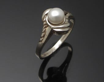 Unique Pearl Ring - Silver freshwater pearl ring handmade in Ireland