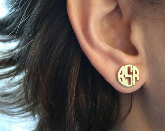 Tiny Earring Monogram Earring Gold Earring Jewelry Bridesmaid Gift Jewelry Personalized Gift Personalized Jewelry Mother's Day Gift