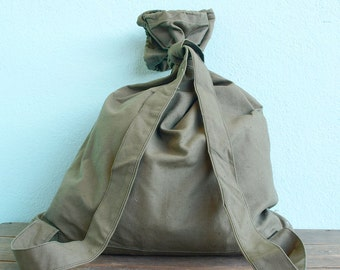 Vintage Green Army Canvas Backpack, Military Canvas Backpack, Rucksack USSR, Soldiers backpack, Soviet kitbag