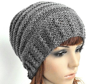 Hand knit hat Charcoal Cable hat woman hat winter hat Knit Wool Hat - ready to ship