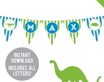 INSTANT DOWNLOAD Dinosaur Party - DIY printable pennant banner - Includes all letters, plus ages 1-18