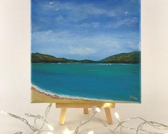 Small Canvas Mini Painting Scottish Seascape Luskentyre Beach Art Original