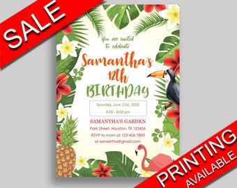 Tropical Birthday Invitation Tropical Birthday Party Invitation Tropical Birthday Party Tropical Invitation Boy Girl flamingo hawaiian 8LFM8