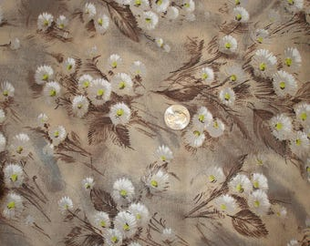 Brown Flowered Cotton Fabric