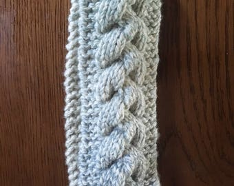 Grey and White cable knit headband