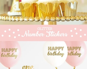 Gold Glitter Number Cup Cake Toppers - DIY Glitter Number Stickers - Golden Birthday Party - 1st Birthday Cake Topper (EB3056) - 24 stickers